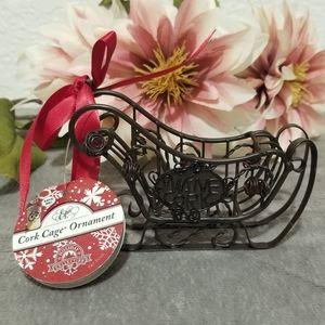 Wine Cork Cage Sleigh Ornament